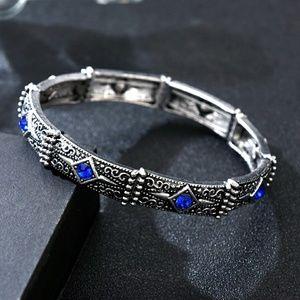Tibetan Silver Sapphire Rhinestone Bracelet